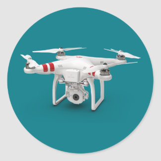 Drone phantom classic round sticker
