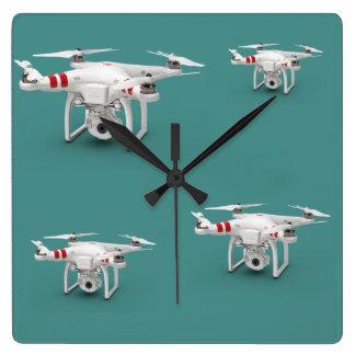 Drone phantom square wall clock