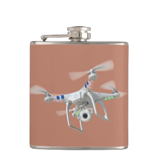 Drone white hip flask