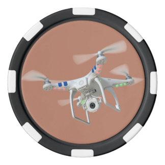 Drone white poker chip set