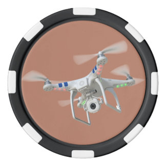 Drone white poker chips