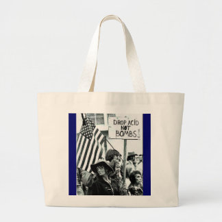 drop acid not bombs large tote bag