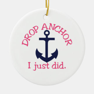 Drop Anchor Round Ceramic Ornament