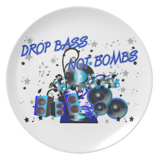 Drop Bass Not Bombs Party Plate