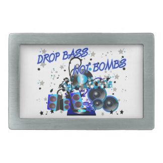 Drop Bass Not Bombs Rectangular Belt Buckle