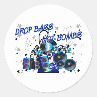 Drop Bass Not Bombs Round Sticker
