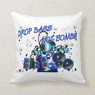 Drop Bass Not Bombs Throw Pillow