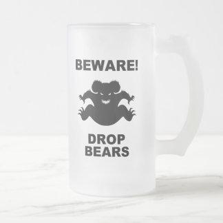 Drop Bears! 16 Oz Frosted Glass Beer Mug