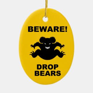 Drop Bears! Ceramic Oval Ornament
