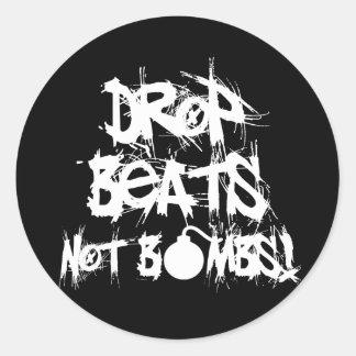 Drop Beats Not Bombs Classic Round Sticker