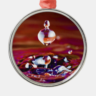 Drop of Water Falling into Rainbow Colored Liquid Silver-Colored Round Ornament