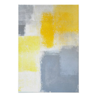 'Dropped' Grey and Yellow Abstract Art Poster