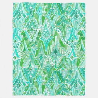 DROPS OF WONDER Tribal Beachy Boho Ikat Watercolor Fleece Blanket