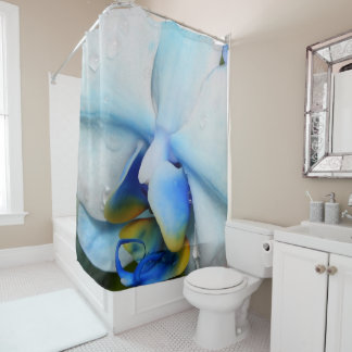 Drops on Blue Orchid Shower Curtain