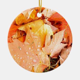 Drops on Leaves Ceramic Ornament