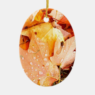 Drops on Leaves Ceramic Oval Ornament