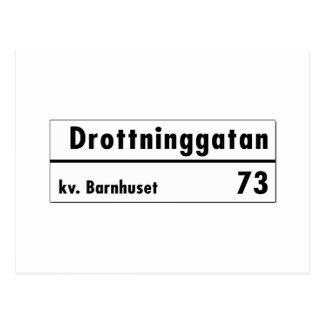 Drottninggatan, Stockholm, Swedish Street Sign Postcard