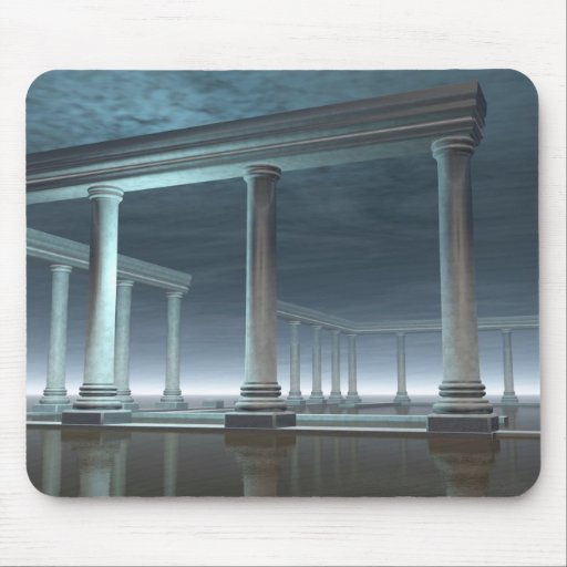 Drowned Greek Temple Ruin in the Moonlight Mouse Pads