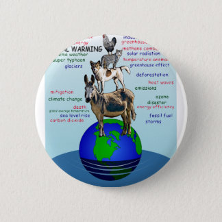 Drowning earth, sea level rise,global warming 2 inch round button