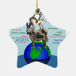 Drowning earth, sea level rise,global warming ceramic ornament