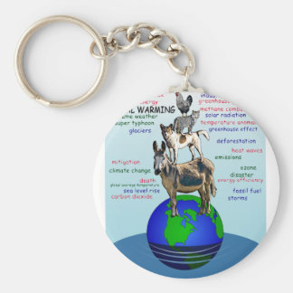 Drowning earth, sea level rise,global warming keychain