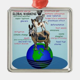 Drowning earth, sea level rise,global warming metal ornament
