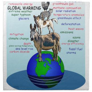 Drowning earth, sea level rise,global warming napkin