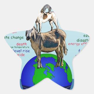 Drowning earth, sea level rise,global warming star sticker