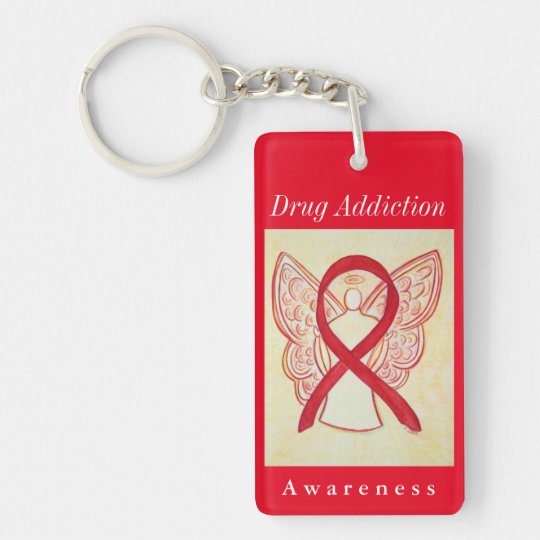 Drug Addiction Awareness Angel Red Ribbon Keychain