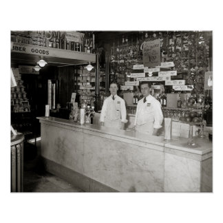 Drug Store Soda Fountain 1921 Posters