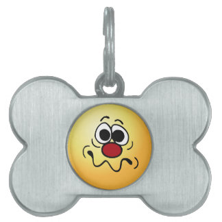 Drugged Smiley Face Grumpey Pet Tags