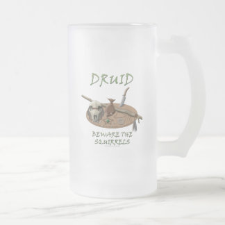 Druid: Beware the Squirrels Frosted Glass Beer Mug