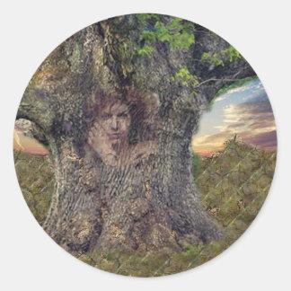 Druid In Trees Round Sticker