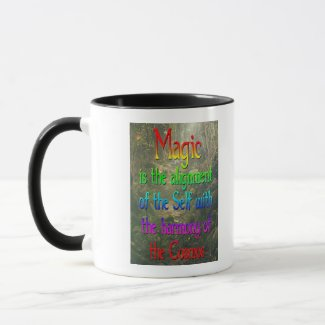 Druid magic rainbow lettered mug with triskelion