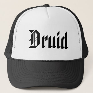 Druid. Nice Gothic Font. Black and White Trucker Hat