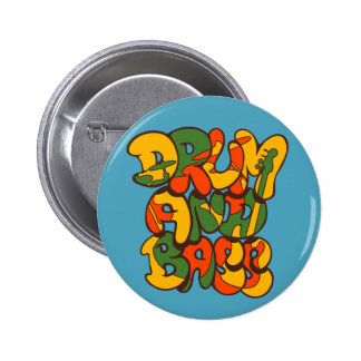 drum and bass reggae color - logo, graffiti, sign 2 inch round button