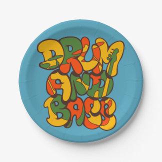 drum and bass reggae color - logo, graffiti, sign paper plate