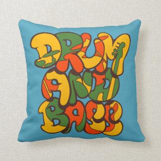 drum and bass reggae color - logo, graffiti, sign throw pillow