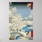 Drum bridge and Setting Sun Hill at Meguro Poster