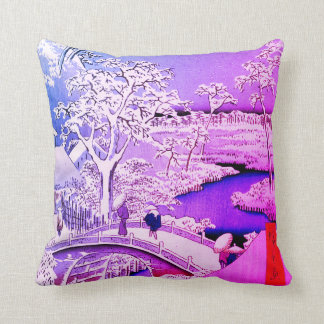 Drum Bridge and Sunset Hill, Meguro Throw Pillow