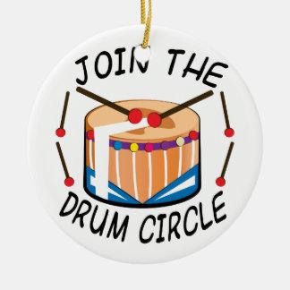 Drum Circle Round Ceramic Ornament