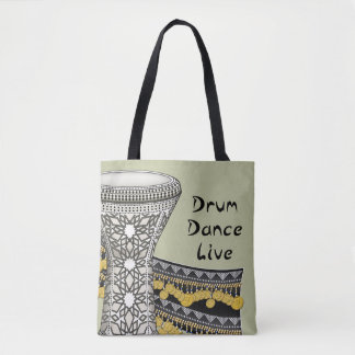 Drum, Dance, Live (Light Background) Tote Bag