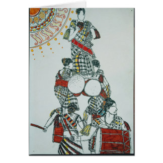 Drum Dancing Girls Greetings Card