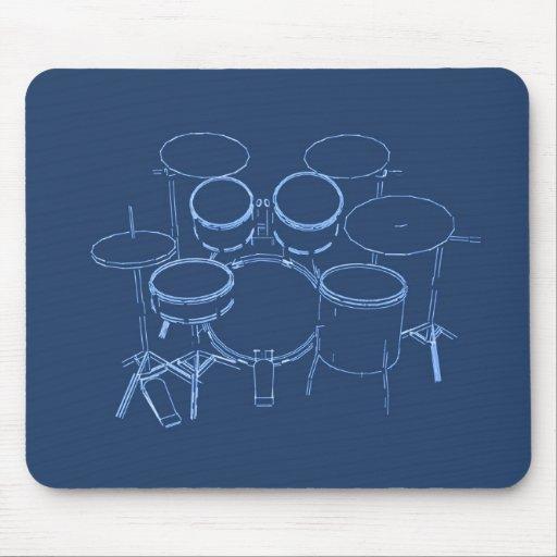 Drum Kit: Blueprint Drawing: Mousepads
