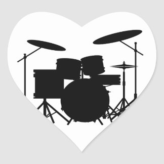 Drum Kit Heart Sticker