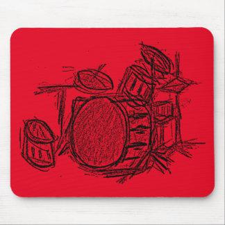 Drum kit rock band grunge mouse pad