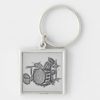 Drum kit rock band grunge Silver-Colored square keychain
