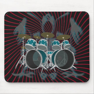 Drum Kit & Spiral Graphics: Green Mouse Pad