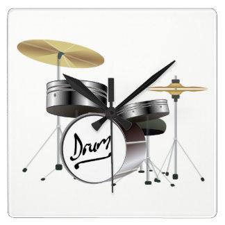 Drum Kit Square Wall Clock