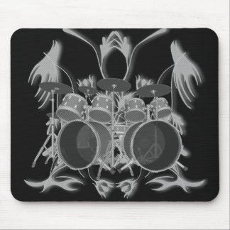 Drum Kit & Tribal Artwork (b & w) - Mousepad